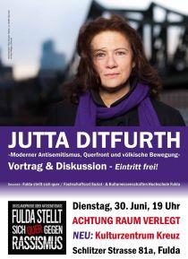 Di. 30.6.2015, 19:00 Uhr (Einlass: 18:15 Uhr), FULDA, Jutta Ditfurth: »Moderner Antisemitismus, Querfront und völkische Bewegung«, Vortrag & Diskussion.