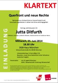 Plakat: Mi. 25.6.2014, 18:30 Uhr, MÜNCHEN, Jutta Ditfurth: »QUERFRONT UND NEUE RECHTE – Nationalismus, Antisemitismus, braune Esoterik und Verschwörungstheorien in Zeiten von Krise und Kriegsgefahr«, Vortrag und Diskussion