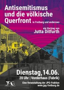 """Di. 14.6.2016, 20:00 Uhr, FREIBURG, Jutta Ditfurth: """"Antisemitismus und die völkische Querfront in Freiburg und anderswo"""", Vortrag & Diskussion. Ort: Vorderhaus - Kultur in der Fabrik, Habsburgerstr. 9, 79104 Freiburg/Breisgau"""