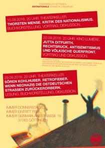 """Do. 22.9.2016, 20:30 Uhr (Einlass: 20:00 Uhr), GÖTTINGEN, Jutta Ditfurth: """"Rechtsruck, Antisemitismus und völkische Querfront"""", Vortrag & Diskussion."""