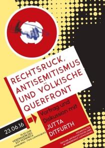 """Do. 23.6.2016, 19:30 Uhr, LUDWIGSBURG, Jutta Ditfurth: """"Rechtsruck, Antisemitismus und völkische Querfront"""", Vortrag & Diskussion."""