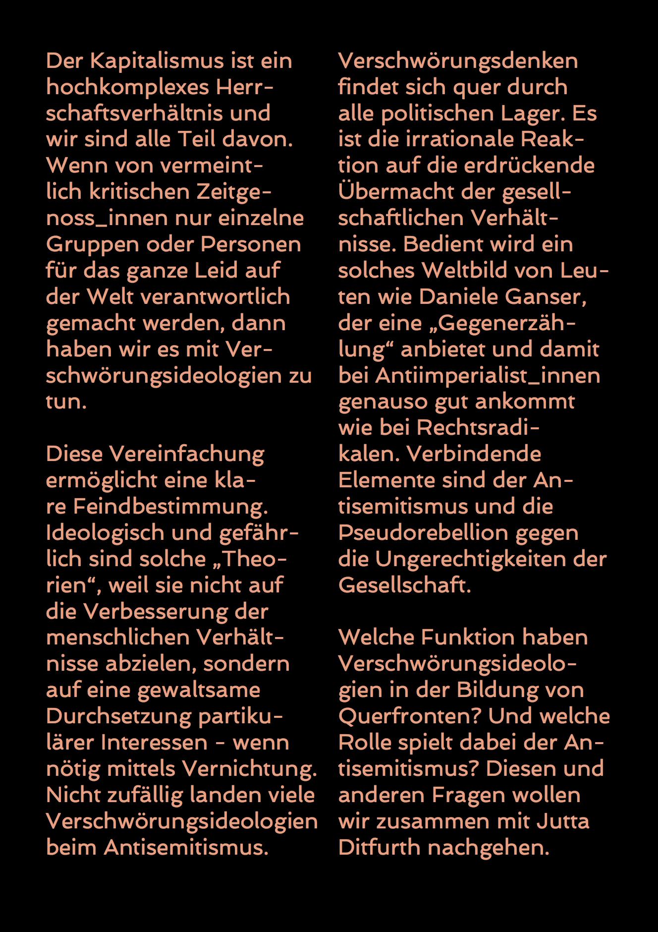 Flyer Jutta Ditfurth: »Verschwörungsideologien als Querfrontstrategie – Antisemitismus von rechts und links«, Rückseite