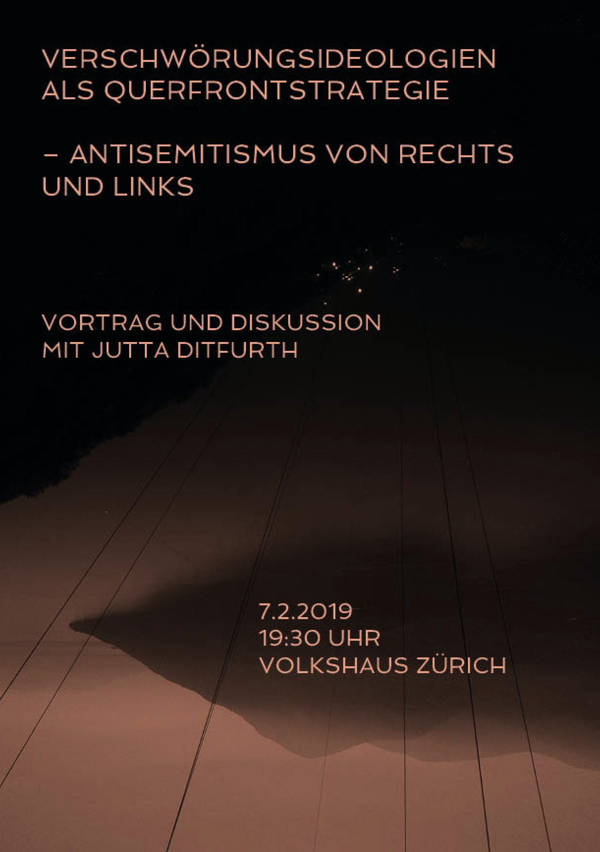 Flyer Jutta Ditfurth: »Verschwörungsideologien als Querfrontstrategie – Antisemitismus von rechts und links«, Vorderseite